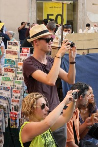 tourists with camera
